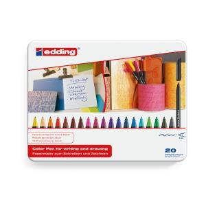 Pack de 20 marcadores EDDING 1200 ponta de fibra