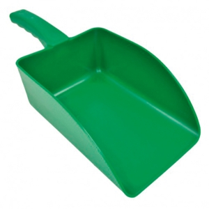 Pá de mão pequena de polipropileno. Cor verde. Capacidade 1000 g