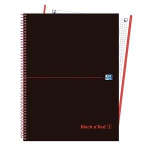 Caderno em espiral microperfurado com faixas de cor e capas de plástico A4+