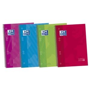 Caderno de espiral microperfurado com faixas de cor, capas extra duras A5+