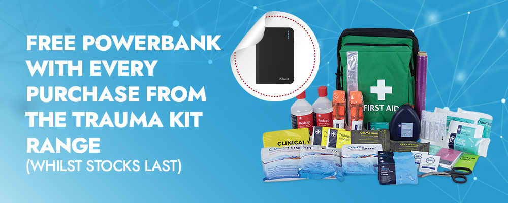 Free Powerbank with every purchase of our trauma kit range