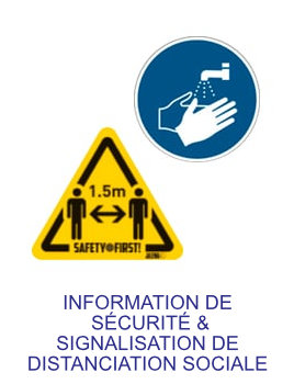 information de sécurité & signalisation de distanciation sociale